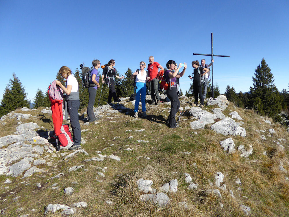 Official SAC walk in the Jura on the Saturday morning.  Walk Leader was Paul Everett. <BR> The group on the summit of le Noirmont above le Cure. Photo by Mike Goodyer