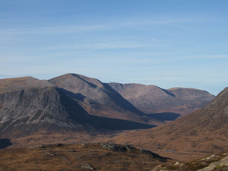 Lairig Ghru with Devil Point and Cairn Toul from summit of Sgor Mor. Photo by Jim Strachan