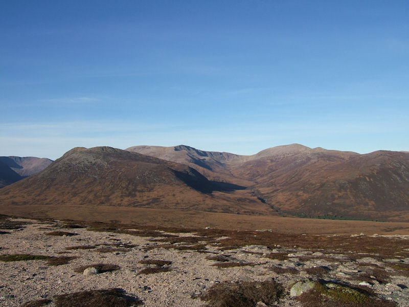 Ben Macdui with Carn a' Mhajm and Derry Cairngorm. Photo by Jim Strachan