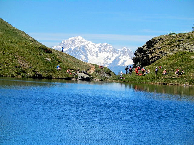Mont Blanc above the Lago di Loie, photo by Rick Saynor