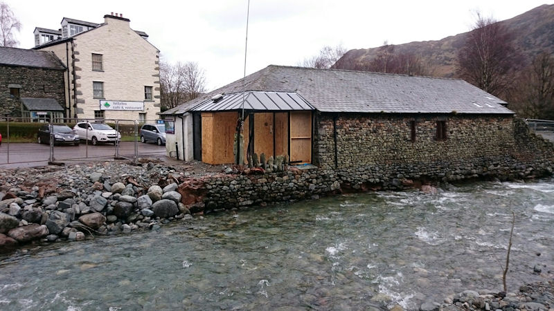 Flood damaged visitor centre in Glenridding. Photo by Andy Burton