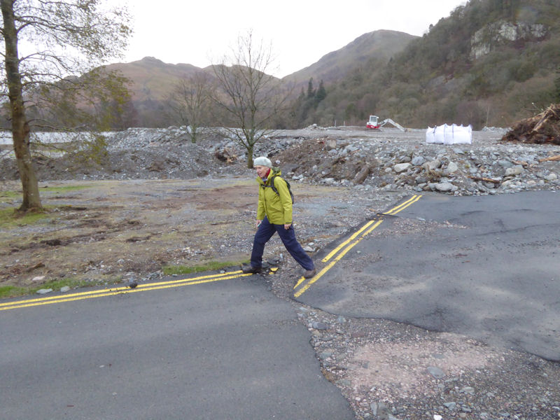 Flood damaged road in Glenridding. Photo by Mike Goodyer