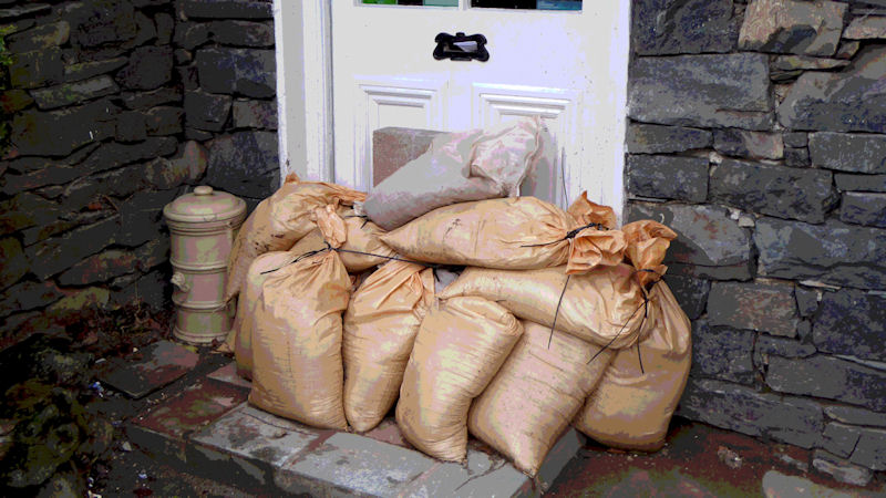 Sandbags at the ready in Glenridding. Photo by Ed Bramley