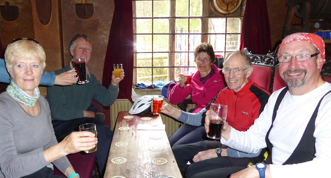 Cheers from the gang at lunch time on Saturday. Photo by Mike Goodyer