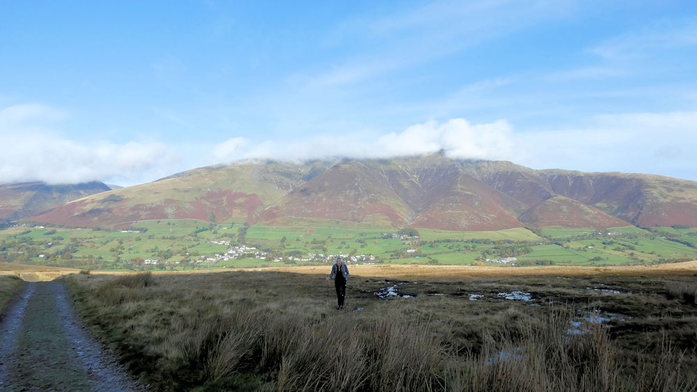 Andy on the way to Great Dodd with Blencathra behind