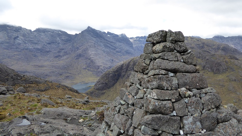 Monument on flank of Sgurr na Stri. Photo by Mike Goodyer