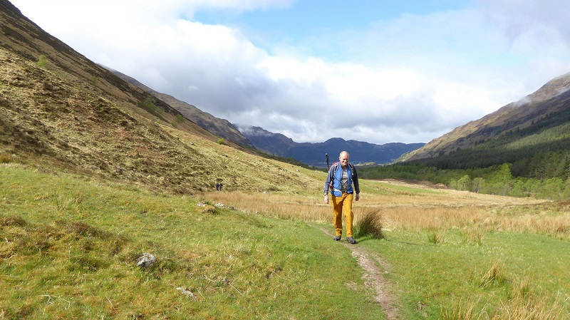 Day 2. Ed walking up Glen Choinneachian. Photo by Mike Goodyer