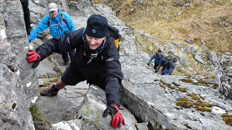 Rock step on Sgurr a Choire Ghairbh. Photo by Ed Bramley