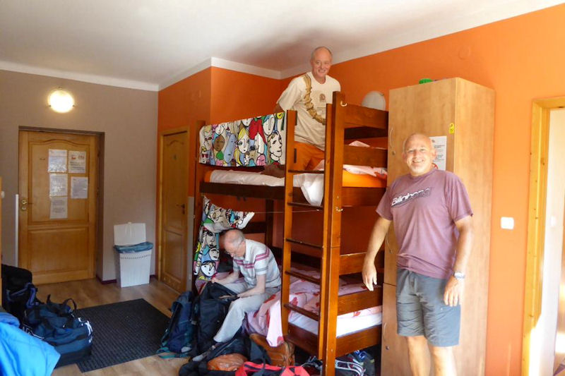 Ed, Myles and Paul in the Hostel in Zacopane. Photo by Mike Goodyer