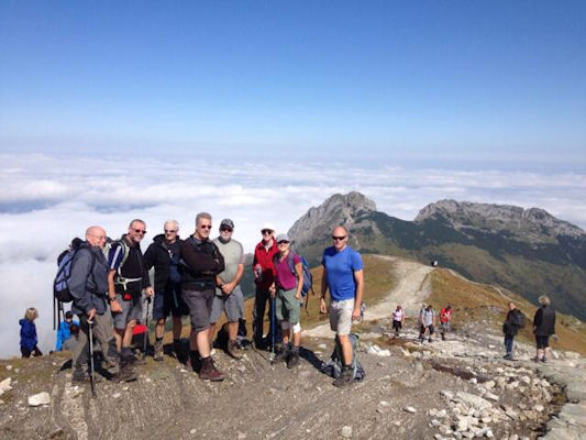 the team on the ridge with Giewont behind. Photo by Ed Bramley