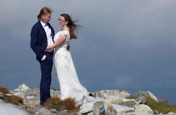Bride and Groom on the ridge! Photo by Ed Bramley